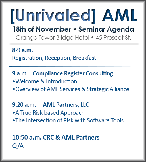 AML Partners AML software solution seminar agenda
