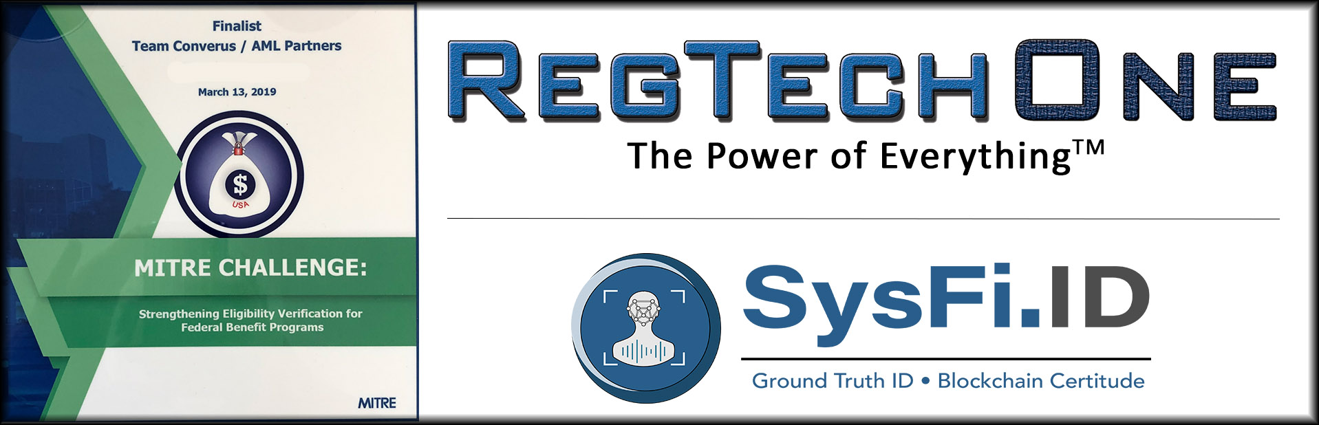 Art showing the MITRE Challenge finalist plaque and the logos for RegTech One and SysFi.ID