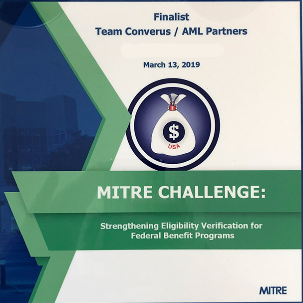 Finalist plaque for AML Partners from the MITRE Challenge