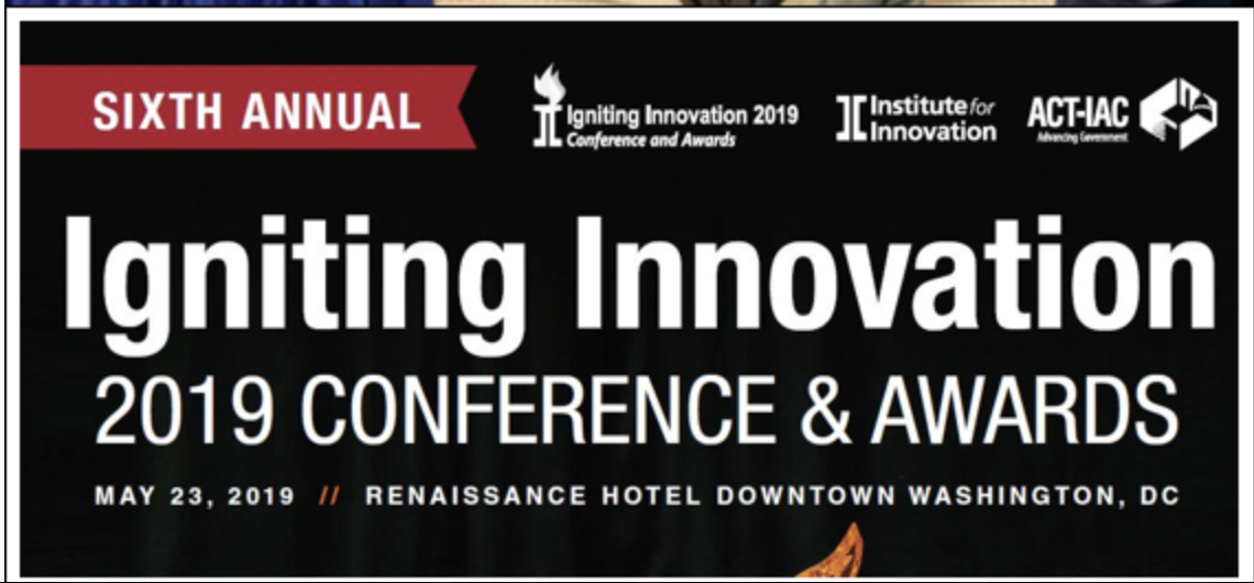 The image shows details for the Igniting Innovation conference May 23 in Washington DC